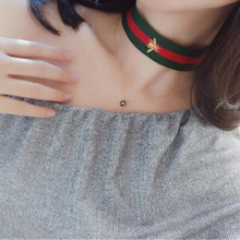 Hot Women's Red Green Stripes Bee Print Fashionable Collar Choker Necklace
