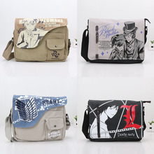 New Fasion Black Butler Naruto Death note Single Shoulder Bag Attack On Titan Children Teenager Canvas Bags Men shoulder bags(China)