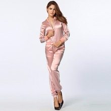 2017 Women Sweat Outfits Suits Stripe Long Sleeve Two Piece Set Zip Elastic Waist Casual Sportswear Hoodie Pants Pink Tracksuit