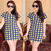 2017 Fashion Printed short sleeve dress Women Dress Girl Clothing summer party dress sexy Female dress Blue White Quick Dry(China)