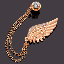 H:HYDE Hot Punk Gold-color Crystal Wings Brooches Link Chains Tessel Brooches Pins Collar Brooches For Women Men Couples Lovers(China)