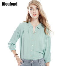 Dioufond New Chiffon Blouses Women Plus Size Solid Ladies Tops Elegant Three Quarter Sleeve Casual Women Shirt 2017 Fashion(China)