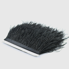 New Brand 1yard Ostrich Feathers Fringe Trims Dyed Black Feather Ribbons for Dress Skirt Party Clothing Decoration Craft Making(China)