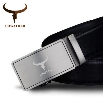 Cowather 2017 hombres de la manera 100% de la vaca cinturones de cuero genuino para los hombres de alta calidad correa de hebilla automática masculina libre gratis