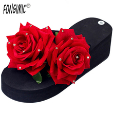 New Women Sandals Fashion Flower Summer Style Slippers Wedges Flip Flops Platform Slippers High Shoes Beach Bohemia Slippers