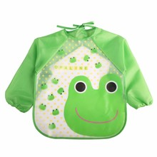 2017 New Children Bib Burp Baby Todders Waterproof Long Sleeve Art Smock Bibs Apron Cartoon Soft Feeding baberos bavoir Clothing(China)