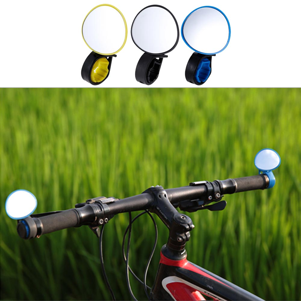 Bike Rear View Mirror Handlebars ABS Black Attachment Rotatable Bicycle