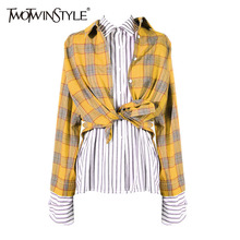 Buy TWOTWINSTYLE Patchwork Blouse Women Lapel Collar Long Sleeve Asymmetrical Shirts 2018 Female Spring Harajuku Clothing for $25.30 in AliExpress store
