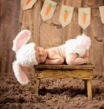 Handmade Big Ears rabbit Bunny Make photos Costume Knitted Beanie Newborn Baby photography Props Cotton Crochet Hat Caps