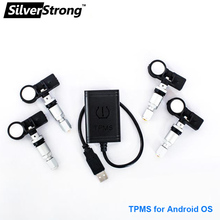 TPMS for Android SilverStrong CAR DVD Car Tire Pressure Monitoring System 4 Sensors Alarm Tire Temperature Monitoring System