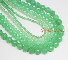 "Light Green Stone Round Loose Beads For Jewelry Making AA+ Natural Stone Beads 15.5""/strand Pick Size 4,6,8,10,12mm (F00025)"