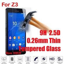 Anti-Scratch Cheap 9H 2.5D 0.26mm Phone Accessories Screen Tempered Trempe Glass Protector For Sony Xperia Z3 Dual Z 3 D6633