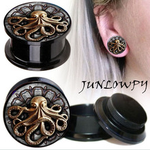 Ear Expander body piercing tunnels Jewelry PAIR octopus Flesh Tunnels Stone Ear Plugs Ear Gauges
