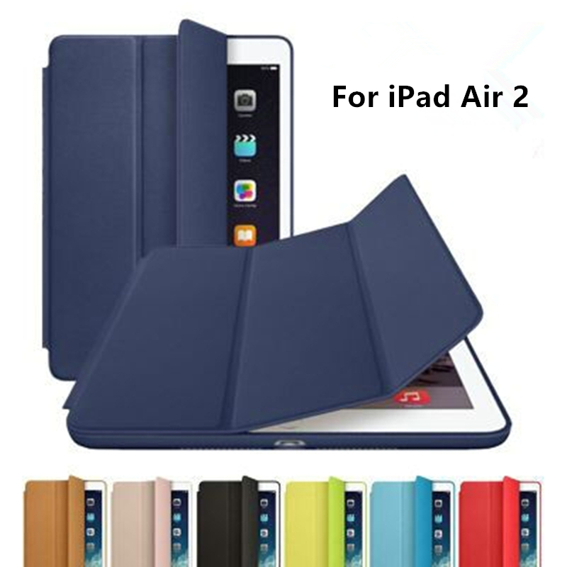 Zimoon Case For iPad Air 2 PU Transparent Back Ultra Slim Light Weight Trifold Smart Cover Case for iPad Air 2 8 Colors(China (Mainland))