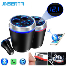 JINSERTA TF/Micro SD Music MP3 Player Bluetooth Car Kit FM Transmitter HandsFree Cigarette Lighter Splitter 3 Ports USB Charger(China)