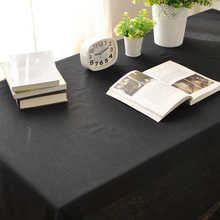 Black Cotton Linen Tablecloth Dustproof Rectangular Table Covers Simple Table Covers Home Textile