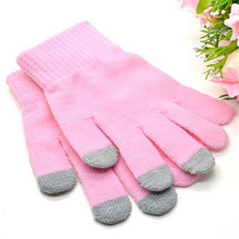 1 Pair Cotton Warm Gloves for Smart Cell Phone Winter Fall Outdoor Wearing Mittens  For Women Men Pink