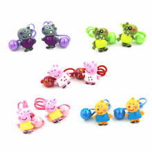 Girls Kids  Cute Pig Cartoon Animals Shape Elastic Hair Band George Rubber band Ponytail Rope Headbands Hair Accessories