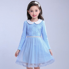 Pink Blue Princess Dress For Girls 4 6 8 10 12 years Old Long Sleeve Clothes Vestido De Menina Spring Summer Kids Cotton Dresses(China)