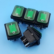 5Pcs RL2(P) Waterproof Green Lamp 4Pin ON-OFF DPST Rocker Switch 2 Position Locking 10A/250V(China)