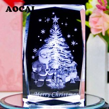 5*5*8cm Christmas tree new Year christmas decoration AAA K9 Crystal Cube Figurine crystal ornaments gift 3D Laser Engraved Craft