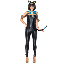 Adult Women Sexy Egyptain Cat Halloween Animal Catsuit Carnival Cosplay Costumes(China)