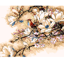 2017 New Digital Diy oil painting by numbers Flowers and birds picture on canvas oil paint coloring by number drawing(China)