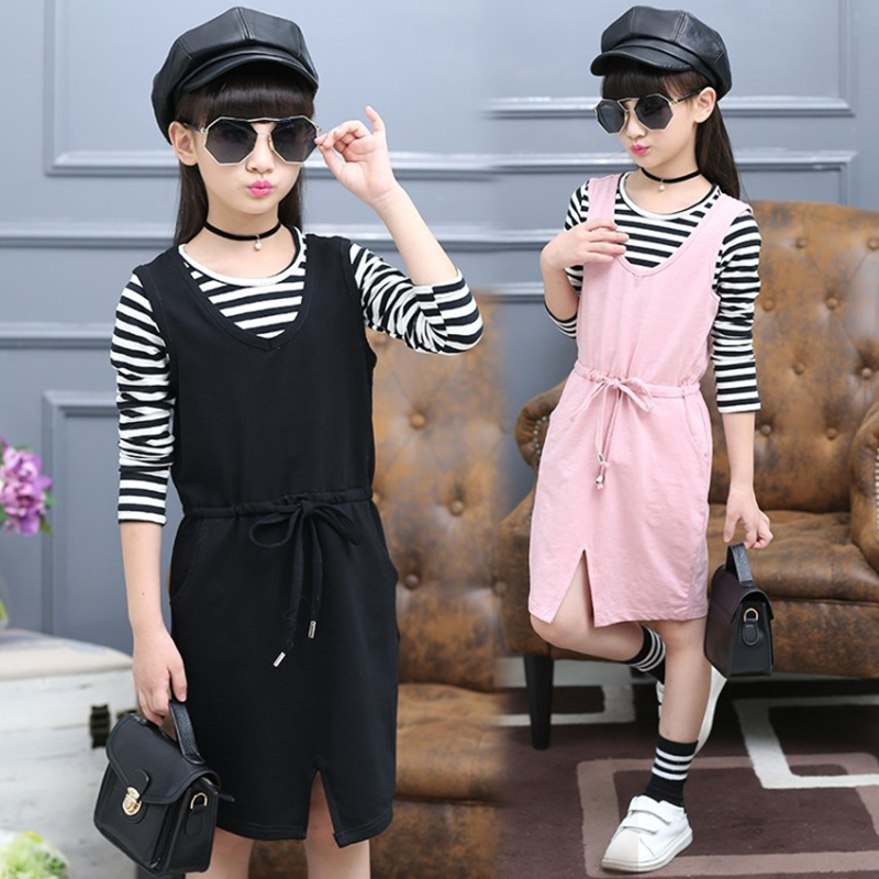 2017 Spring Baby Girl Cotton Dress Set Stripe Pattern T-shirt + Sleeveless Waisted Dress Kid Fashion Clothes Suit Children 2pcs<br><br>Aliexpress