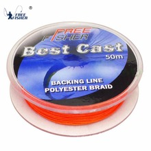 Free Fisher Brand Orange Yellow 20lb 50m Braided Polyester Fly Fishing Lines Fly Fishing Backing Line(China)