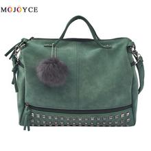 Buy MOJOYCE Vintage Nubuck Leather Female Top-handle Bags Rivet Larger Women Bags Hair Ball Shoulder Bag Motorcycle Messenger Bag for $14.29 in AliExpress store