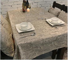 Free Shipping linen fabric table cloth Letter Design  Mat Cover for Dining Table Household