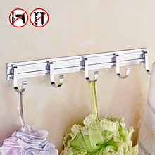 AUSWIND Contemporary Space Aluminum Clothes Hooks Coat Hooks Silver Color Towel Hooks Bathroom Products 3-5 Hooks Tk05