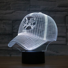 8075 New York Yankees Baseball Cap Hat 3D LED Lamp Atmosphere lamp 7 Color Changing Visual illusion LED Decor Lamp(China)