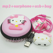 10pcs/lot  High Quality Mini Hello Kitty MP3 Music Player Clip MP3 Players Support TF Card With Earphone Mini USB Bag