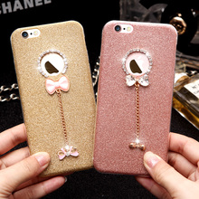 Glitter Diamond Bling Case For iPhone 6 6s 7 Plus 5s Bowknot Pendant Rhinestone Silicone Phone Coque Soft protective case Fundas(China)