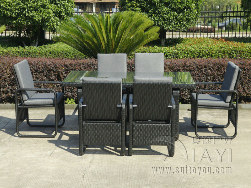 7 pcs Contemporary Dining Set , UV Resistant KD Rattan Furniture Sets transport by sea(China)