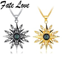 Fate Love Latest Star Compass Male Necklace Hiphop Rock Men Pendant Unique Jewelry Cool Boy Gifts Black/Gold Color Necklace 1288(China)