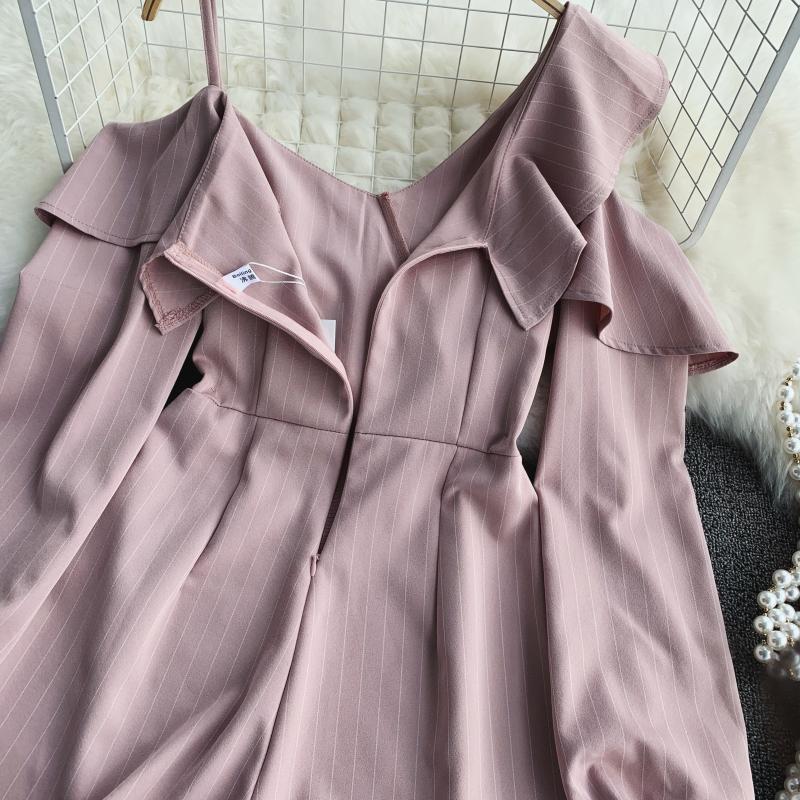Spring Summer Jumpsuit for Woman Women's 2019 New Heart Machine Lotus Edge V-neck Long Sleeve High-waist Stripe Short Overalls 24