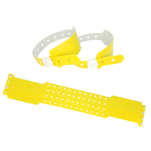 100pcs Zinc Yellow Color Cheap plastic event vinyl wristband bracelet for ticket festival id bracelets vinyl wristbands(China)