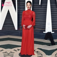 89th Annual Academy Awards Red Chiffon Celebrity Dresses High Neck Long Sleeve Red Carpet Dresses Cheap Custom Made