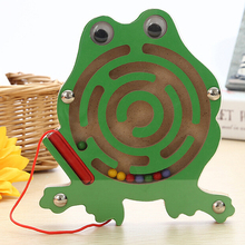 Kids Wooden Puzzle Magnetic Maze Intellectual Jigsaw Board Cartoon Toy Development IQ Brain Teaser Maze Toy For Kids Gift(China)