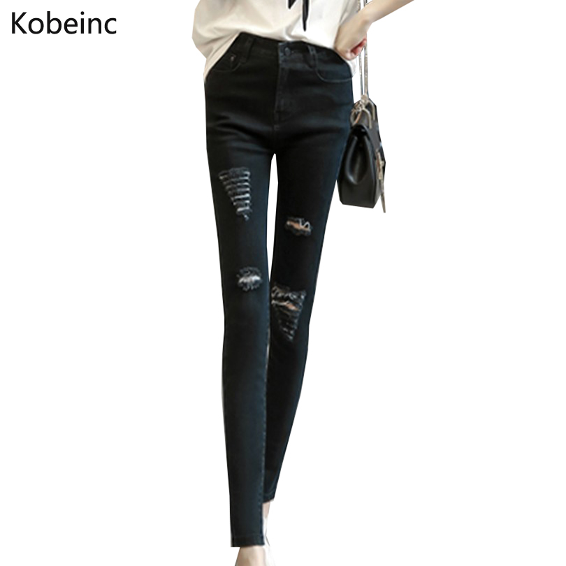 Casual Style Denim Pants Ripped Holes Women Jeans Skinny Trousers Fashion Mid Waist Pencil Pants S-XL Washed Color PantalonesОдежда и ак�е��уары<br><br><br>Aliexpress