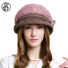 FS British Women Pink Winter Wool Beret Hat Wide Brim Floppy Floral Female Fashion Knitted Warm Hats Cap Casual Women Berets