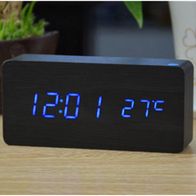 New digital LED Rectangle Shape Wood Alarm Clock date/ time/temperature display voice control USB/AAA Powered Electronic Clocks