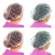 1PC Color Random Dot Waterproof Shower Cap Thicken Bath Hat Bathing Cap for Women(China)