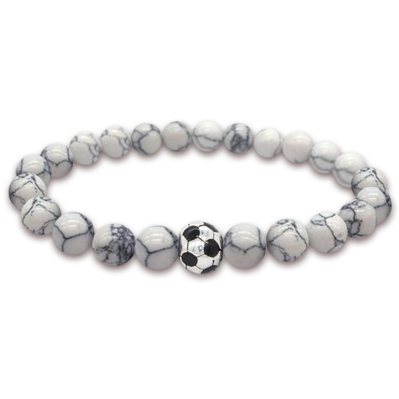 2 PCS Sport Soccer Bracelets Football Brazil Charm Fashion Jewelry Natural Stone For World Cup Fans Couples Braslet Wrist Band