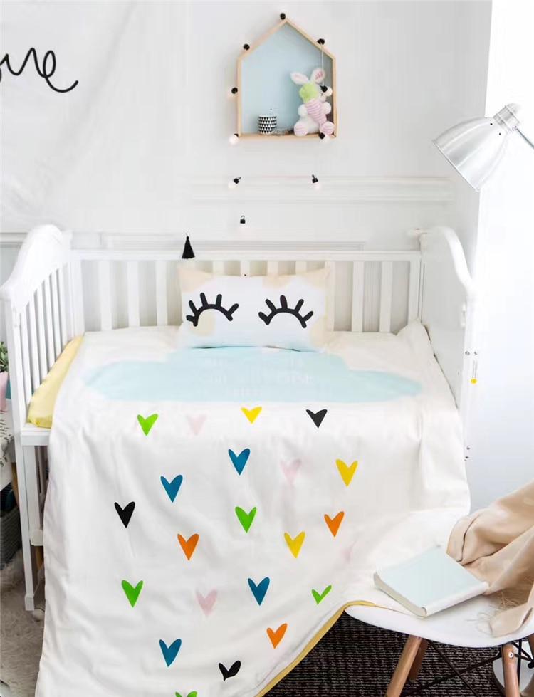 3pcs/set  cotton baby bedding set swan bear  Elephant rabbit design included duvet cover flat sheet pillowcase for baby boy girl<br>