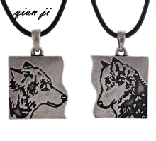 Vintage Wolf Pendant Necklace Couple Wolf Lover Necklace Christmas gift(China)