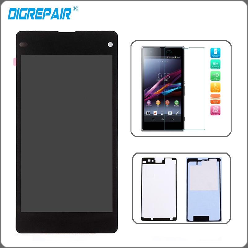 Black Sony Xperia Z1 Mini Compact D5503 LCD Display Monitor Panel Touch Screen Digitizer Assembly+Tempered Glass+Glue