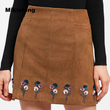 Buy Mikialong 2018 New Arrival Floral Embroidery Suede High Waist Skirt Women Elegant Solid Line Mini Skirt Vintage Faldas Mujer for $13.73 in AliExpress store
